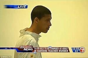 Danvers High School ... Pictured: Boy, 14, 'caught on camera dragging teacher's body into woods' (23 October 2013) ...